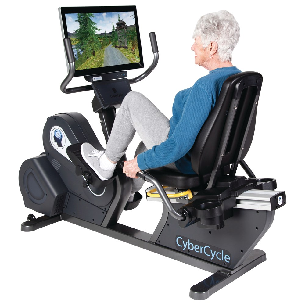 Senior citizen using recumbent bike