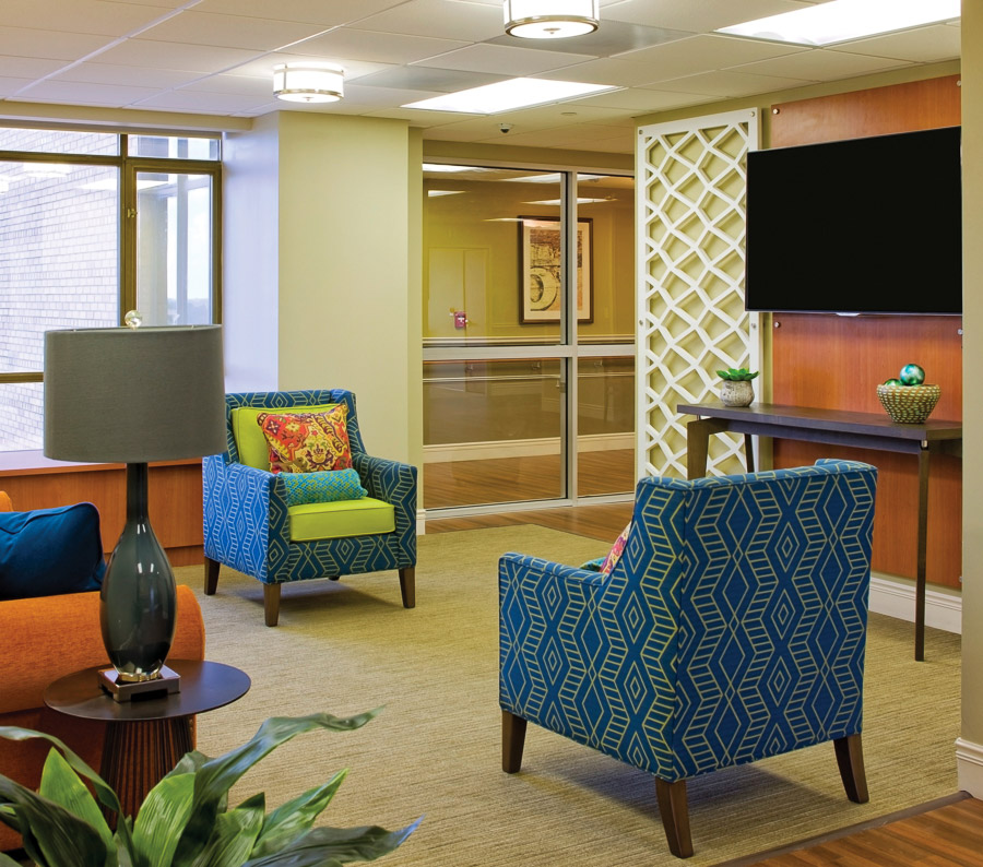 Aptura designed lobby area at Texas Health Presbyterian Hospital with Maxwell Thomas furniture