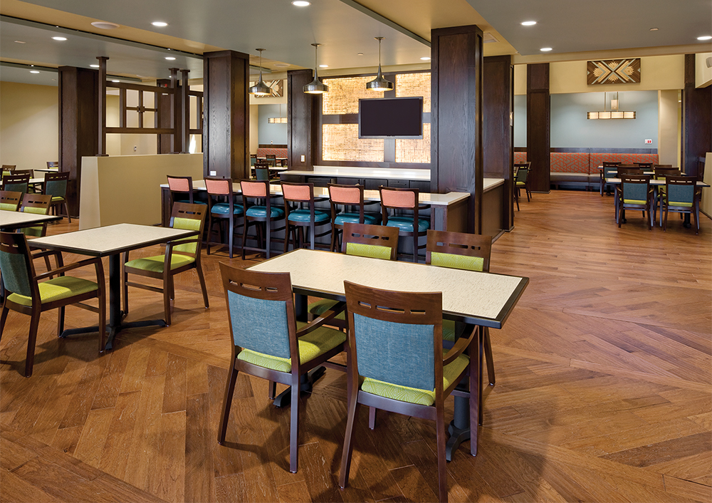 Refreshed open concept room designed for Senior Living