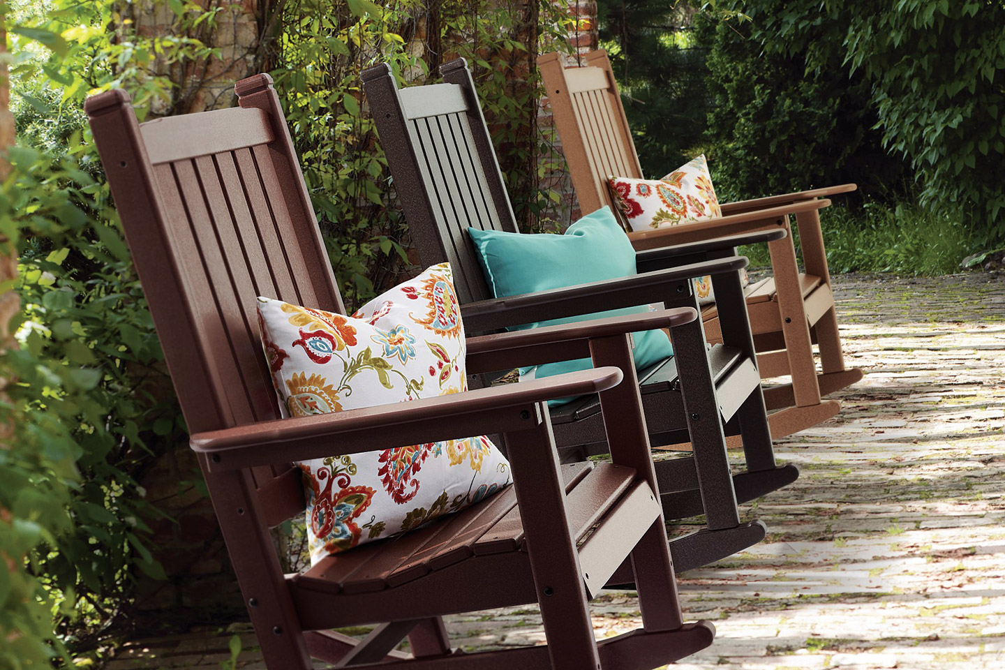 Senior living outdoor space with rocking chairs
