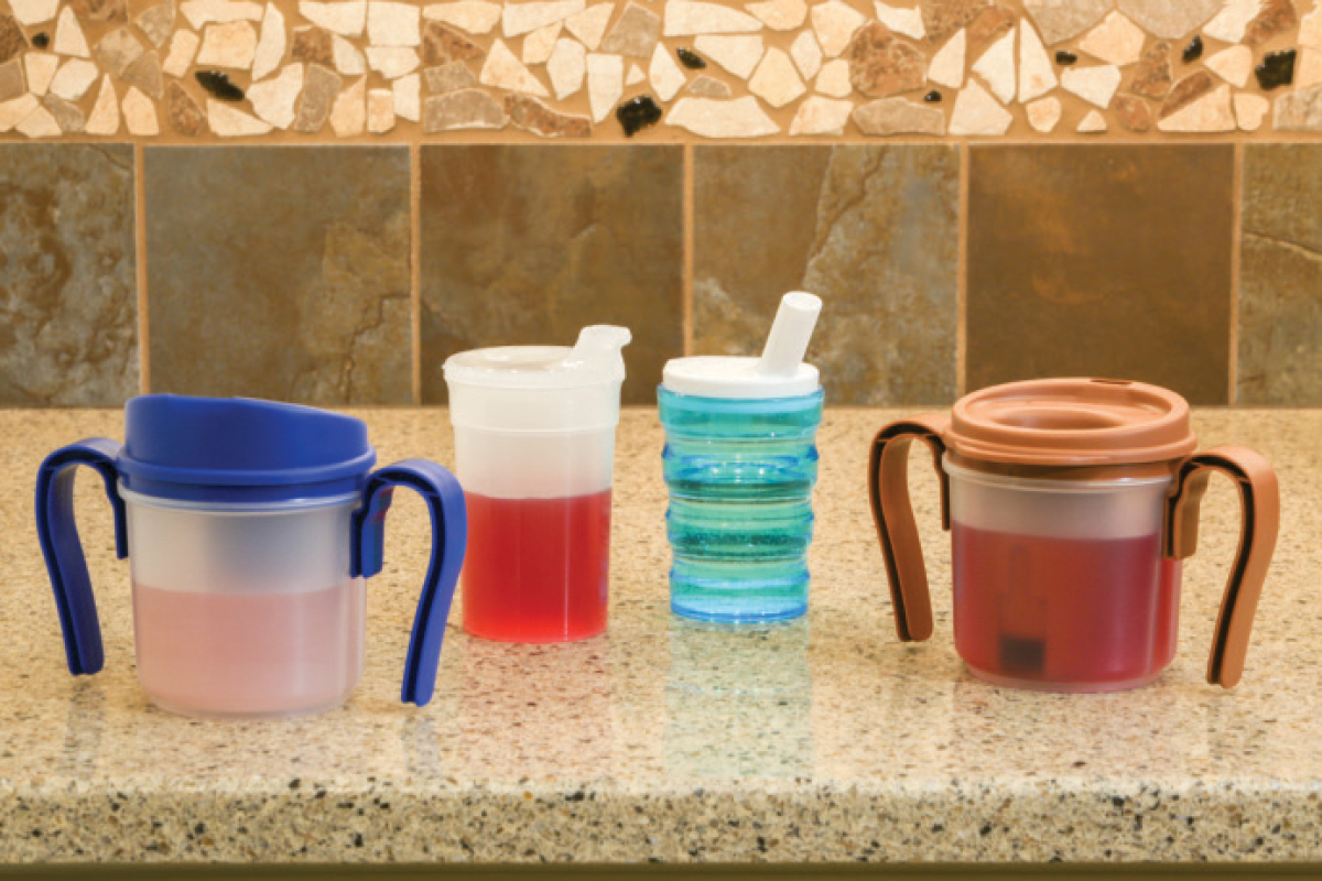 Specialized cups can help seniors with dysphagia control sip size and maintain proper posture.