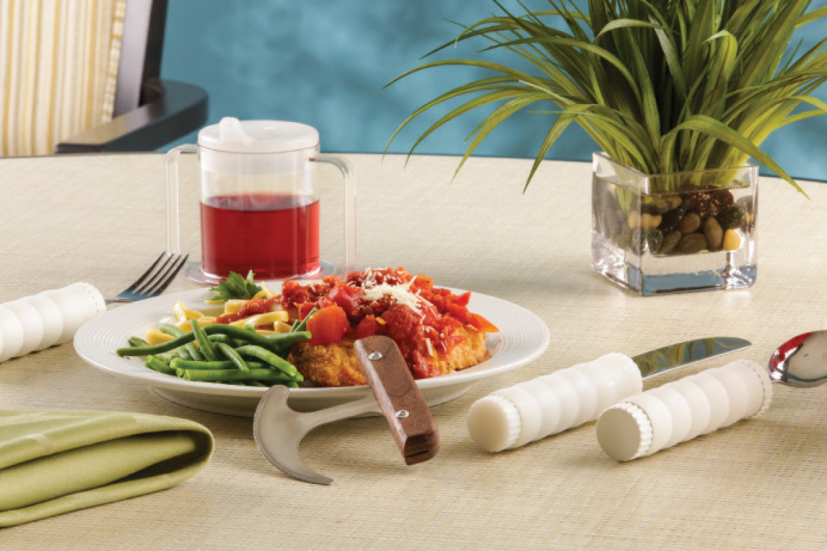 Specialty utensils with weighted handles can help seniors with hand tremors.