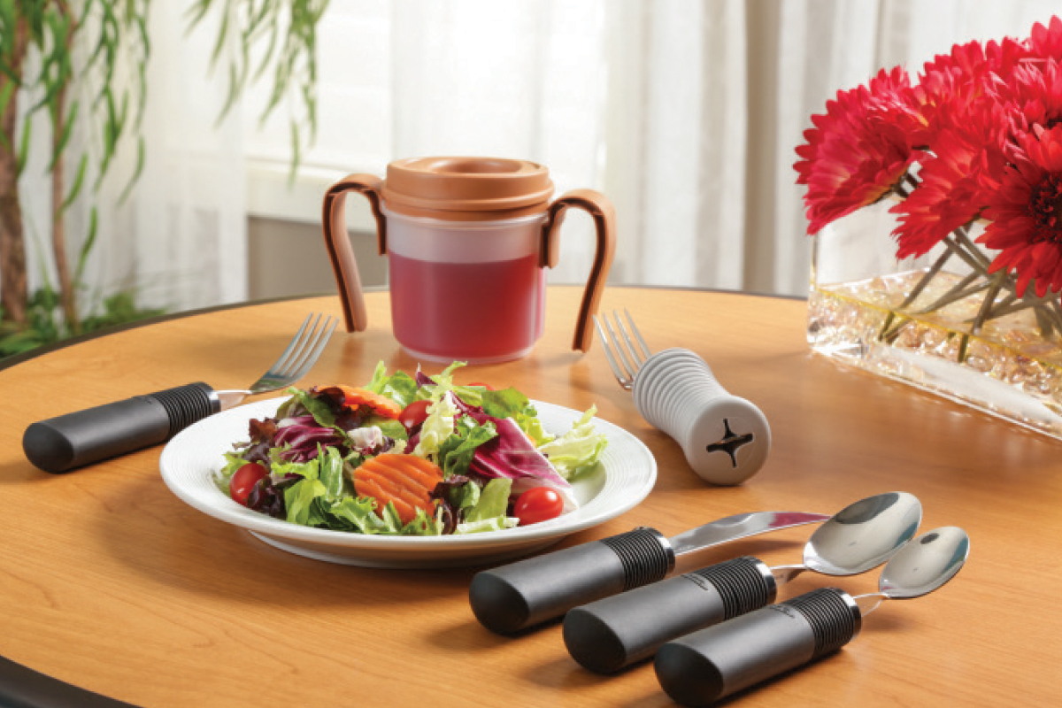 Modified utensils help increase hand function for seniors with limited grasp.
