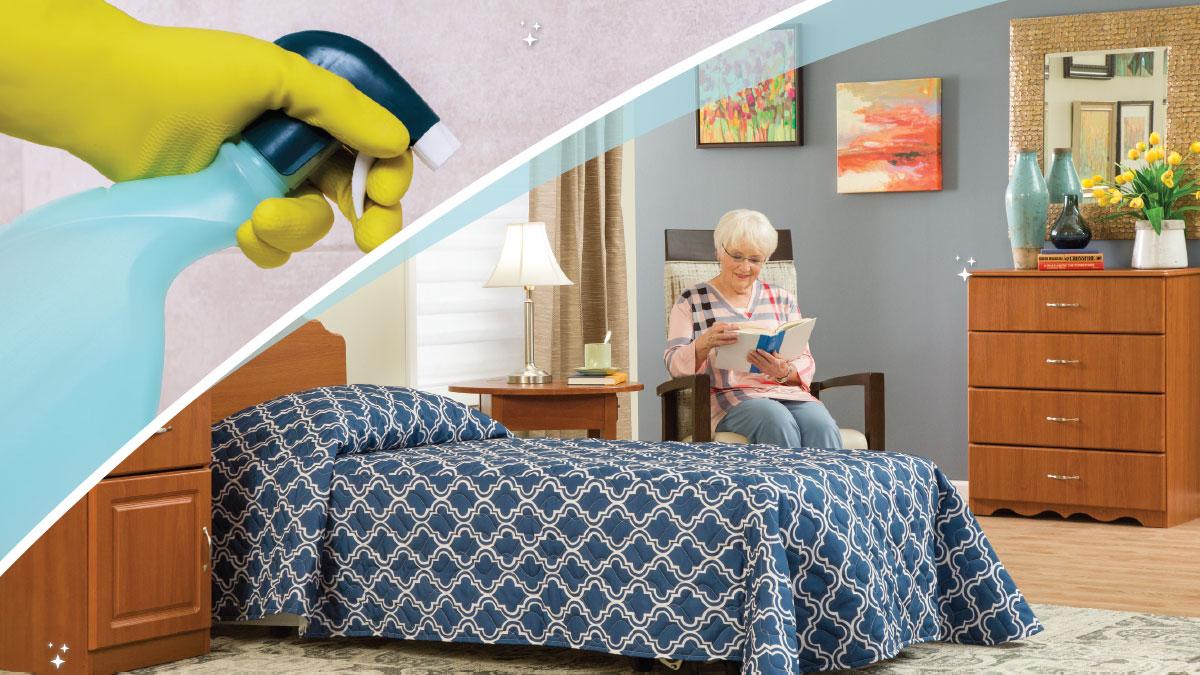 spray bottle and resident bedroom