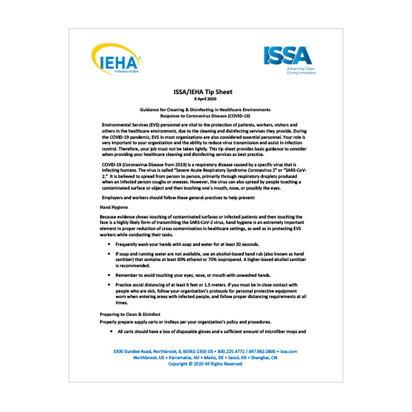 ISSA/IEHA Cleaning and Disinfecting Tip Sheet for COVID-19