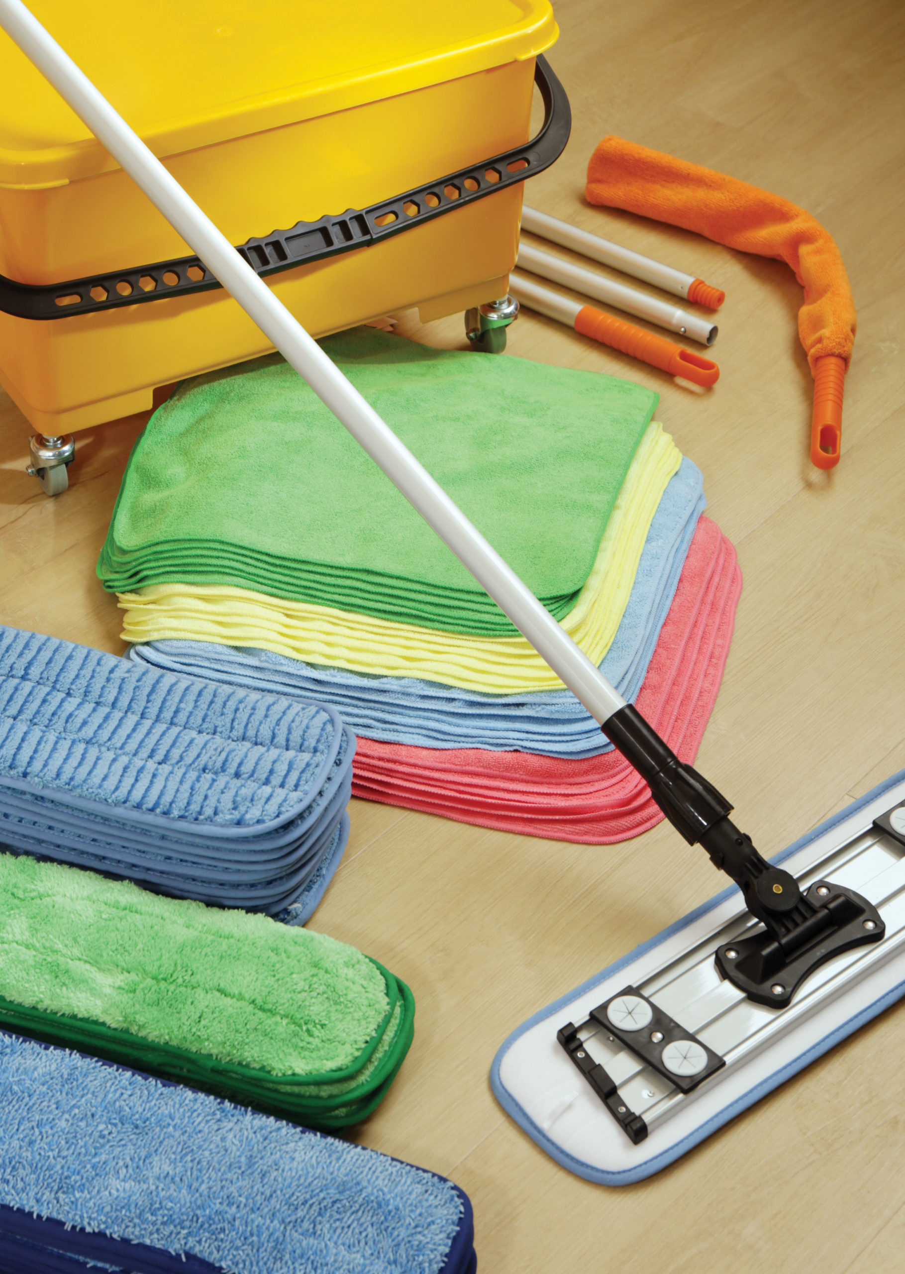 Enhance cleaning with microfiber cleaning products, like flat mops, cloths and dusters.