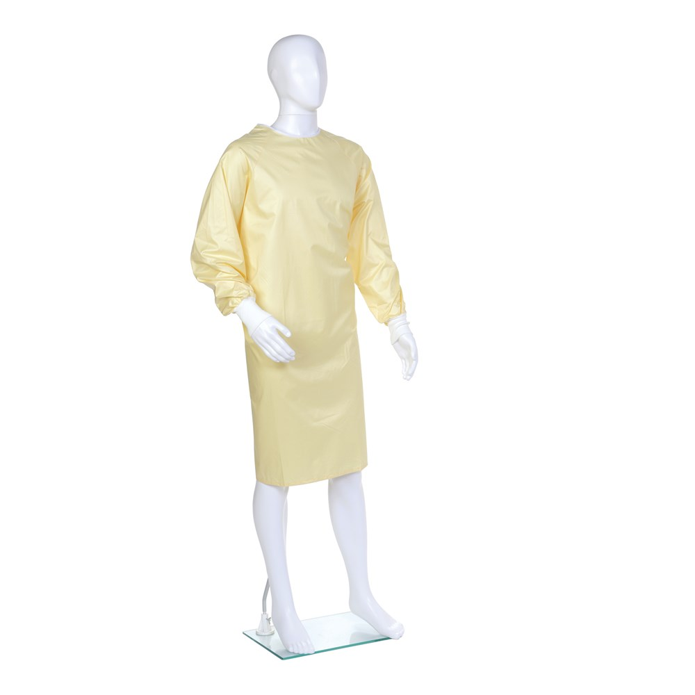 Reusable Yellow Isolation Gown,  Polyester,  AAMI Level 1 Gown