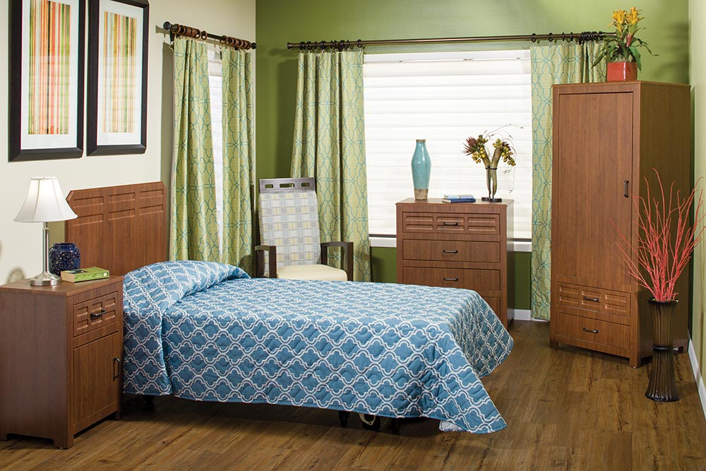Ultra-durable thermolaminate casegoods stand up to wear and tear in Senior Living.