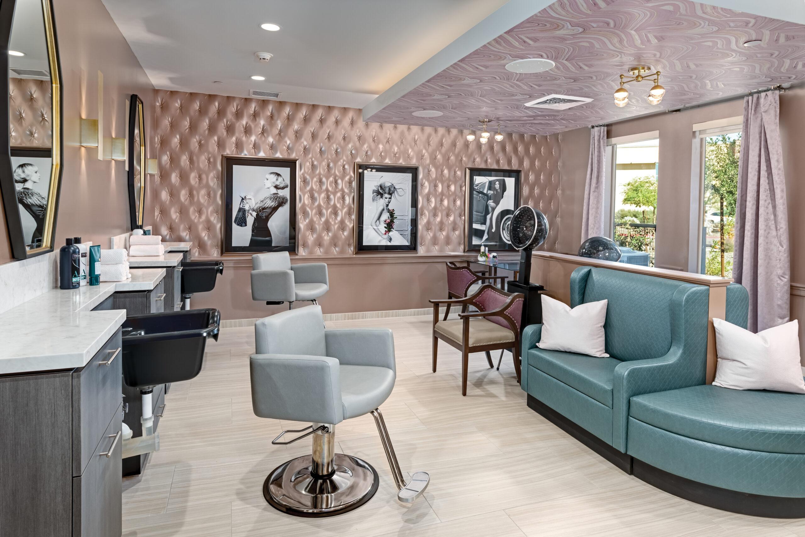 Feminine Salon, pink walls and green seating