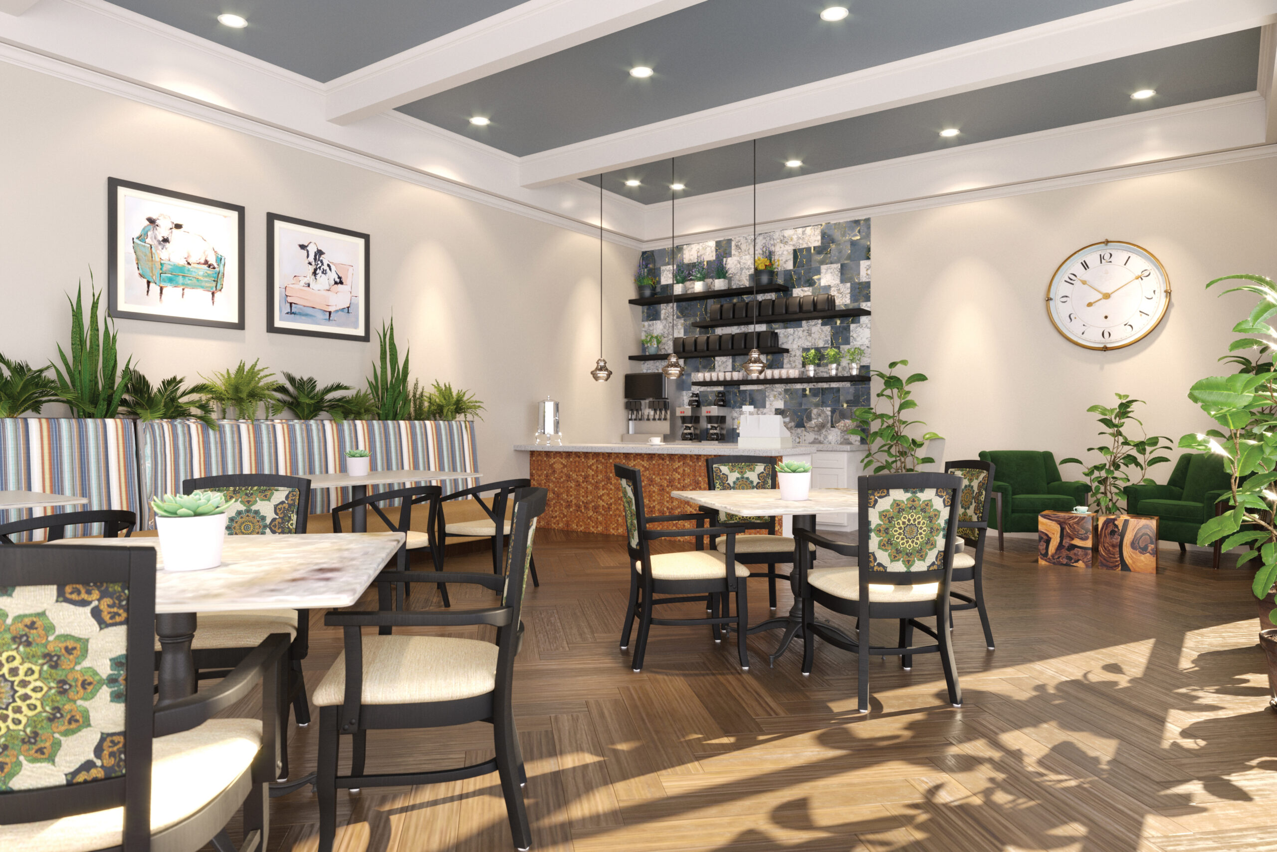 Bistro bar with seating area, beige walls, and cow artwork