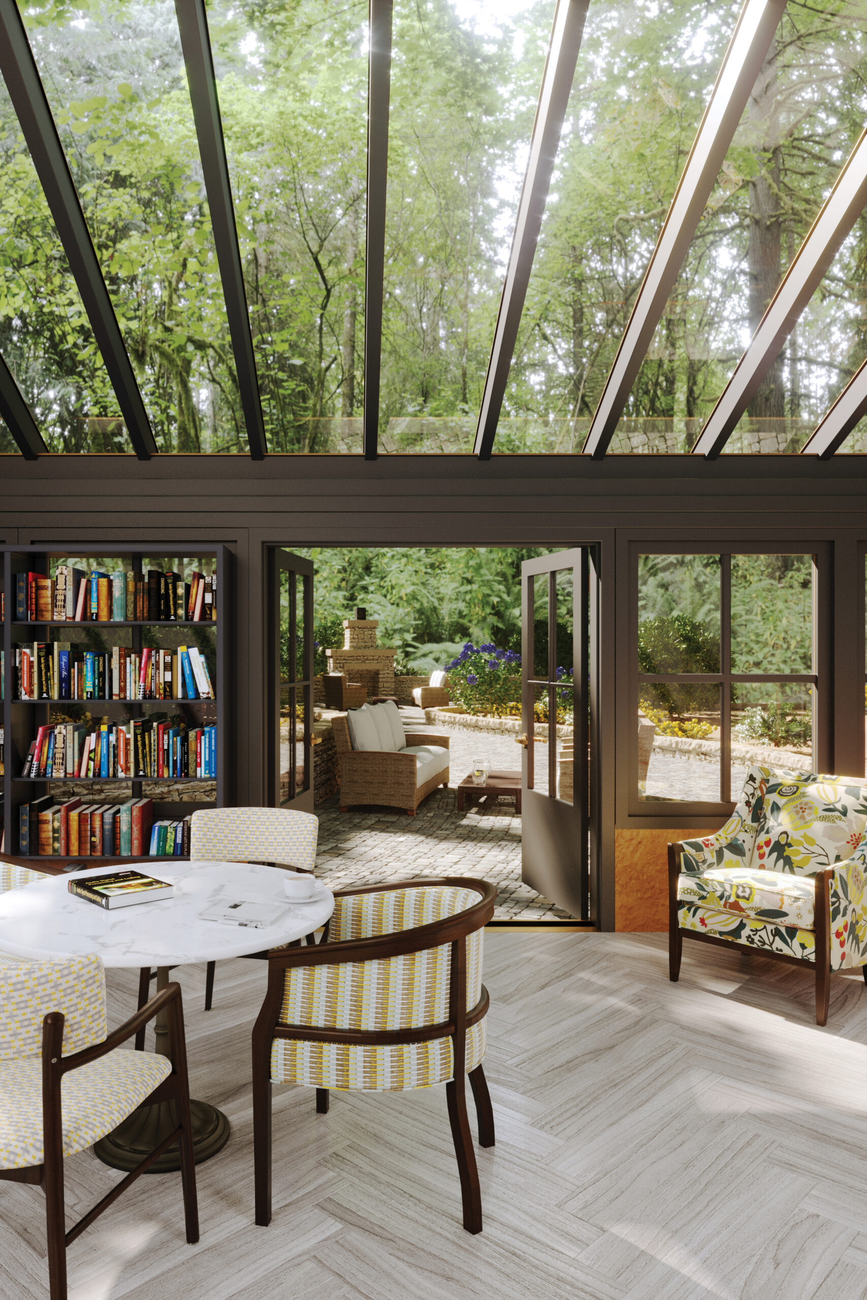 Sun room library with white table and chairs