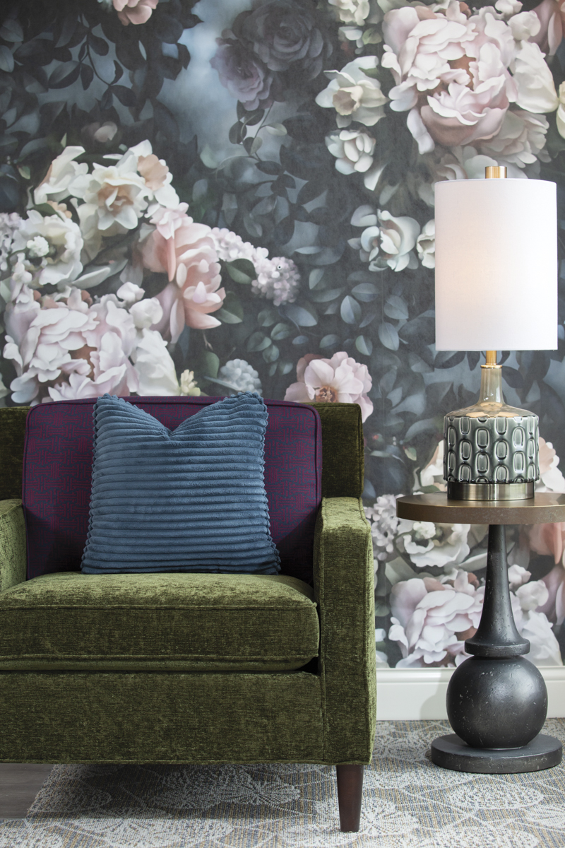 St Rita FLoral wall paper and green chair