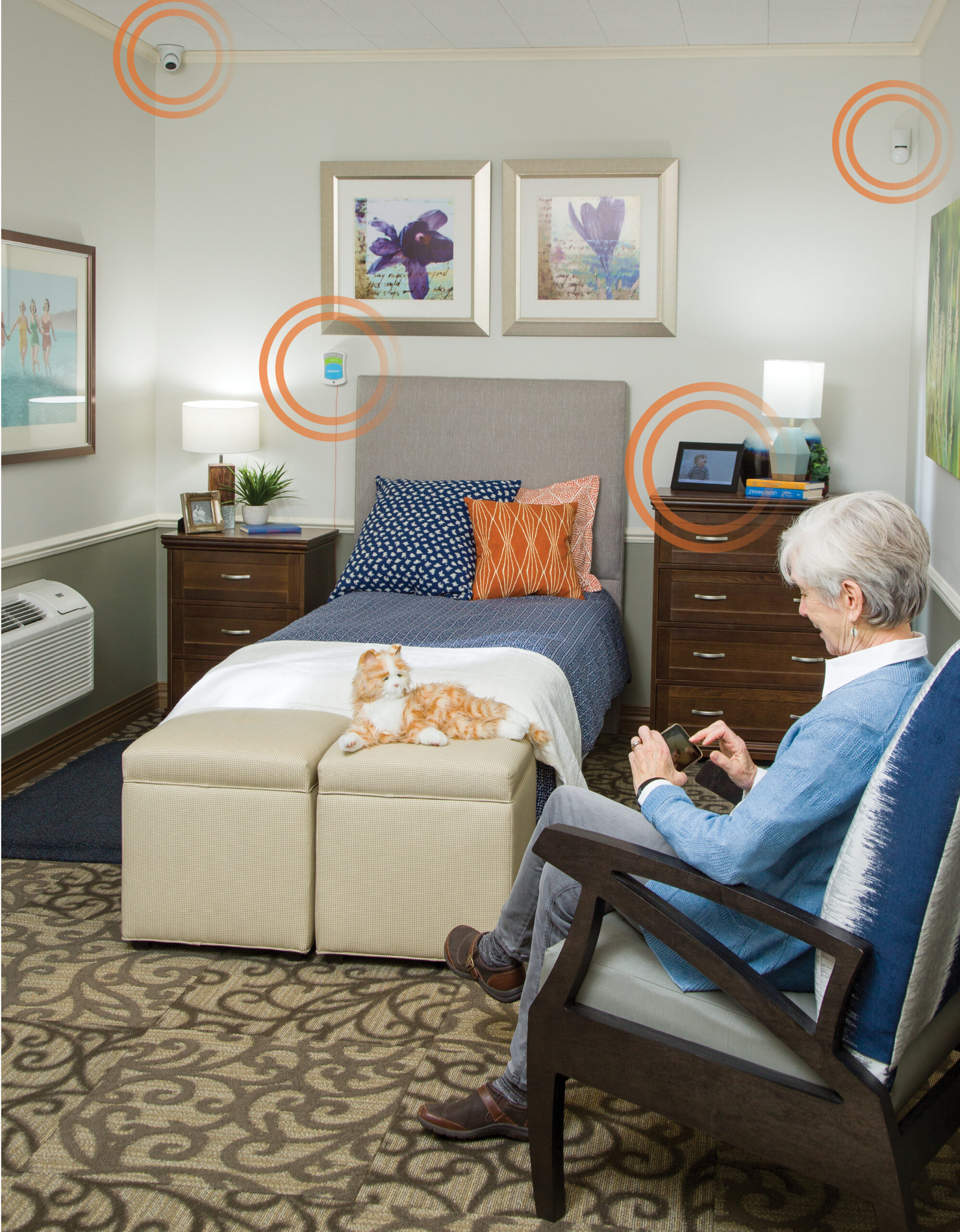 Woman in resident room with tech circles